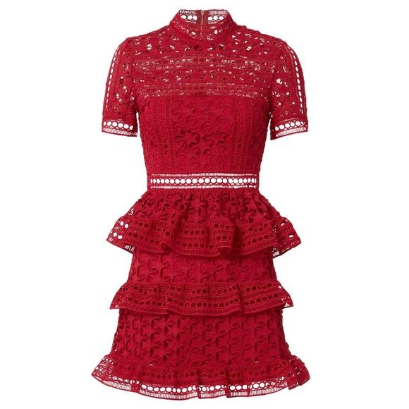 c41b204589e7 Self-Portrait Dresses   Selfportrait Red High Neck Star Lace Mini ...